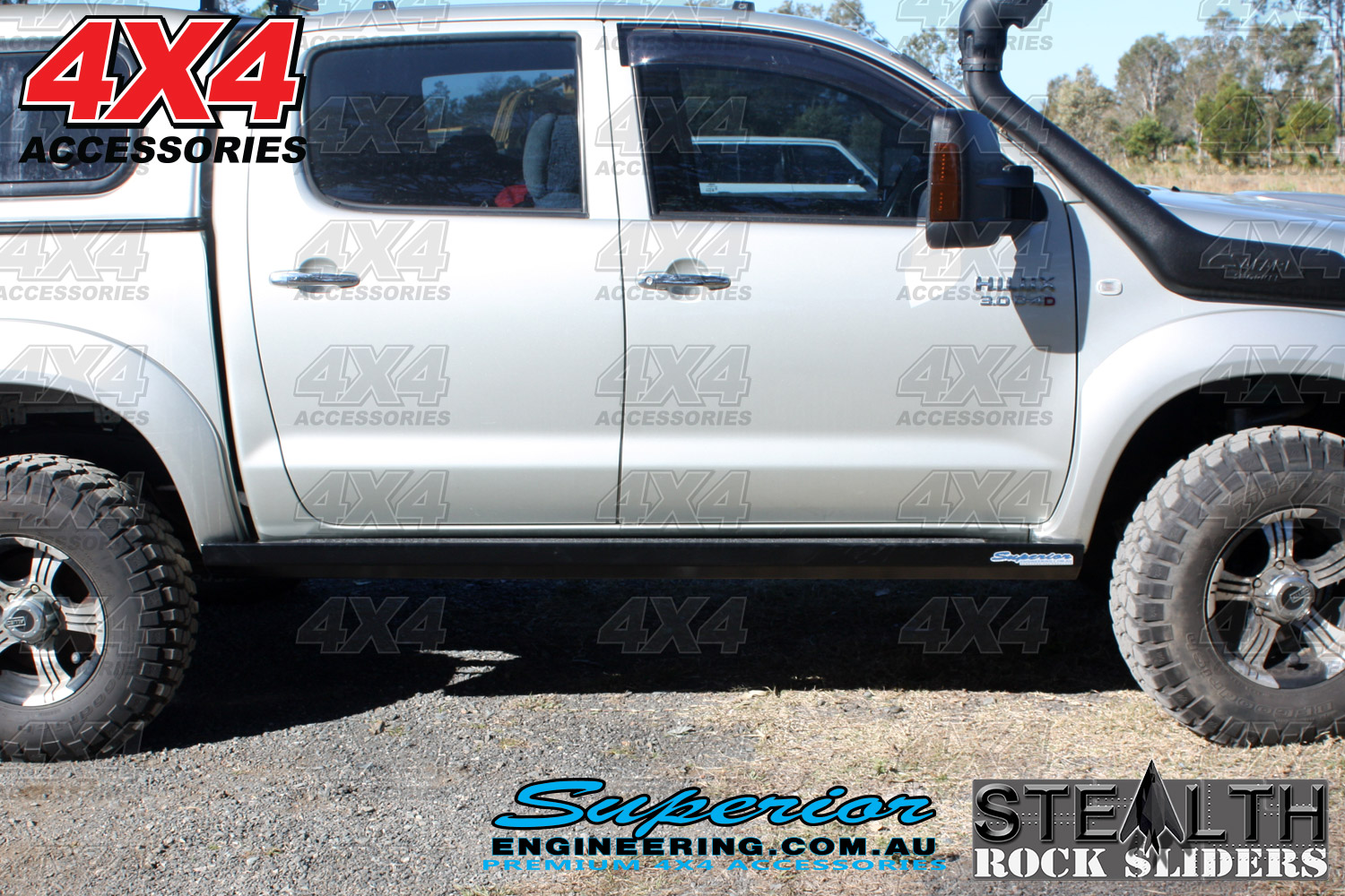Toyota Hilux Fitted with Stealth Rock Sliders