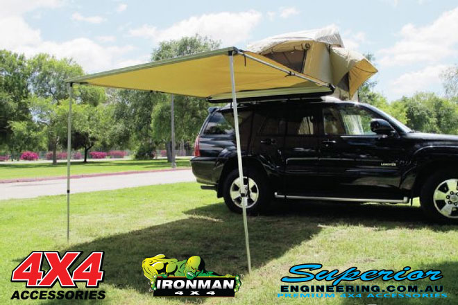 The Ironman tent is supplied with an awning