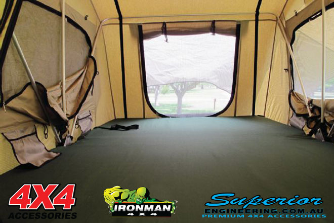 Inside view of the Ironman 4x4 Rooftop Tent