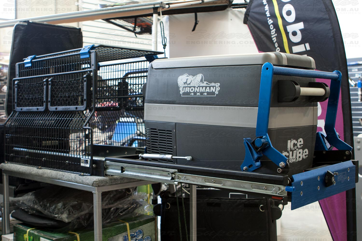 In-store display of the MSA 4x4 Fridge Drop Slide during the opening process