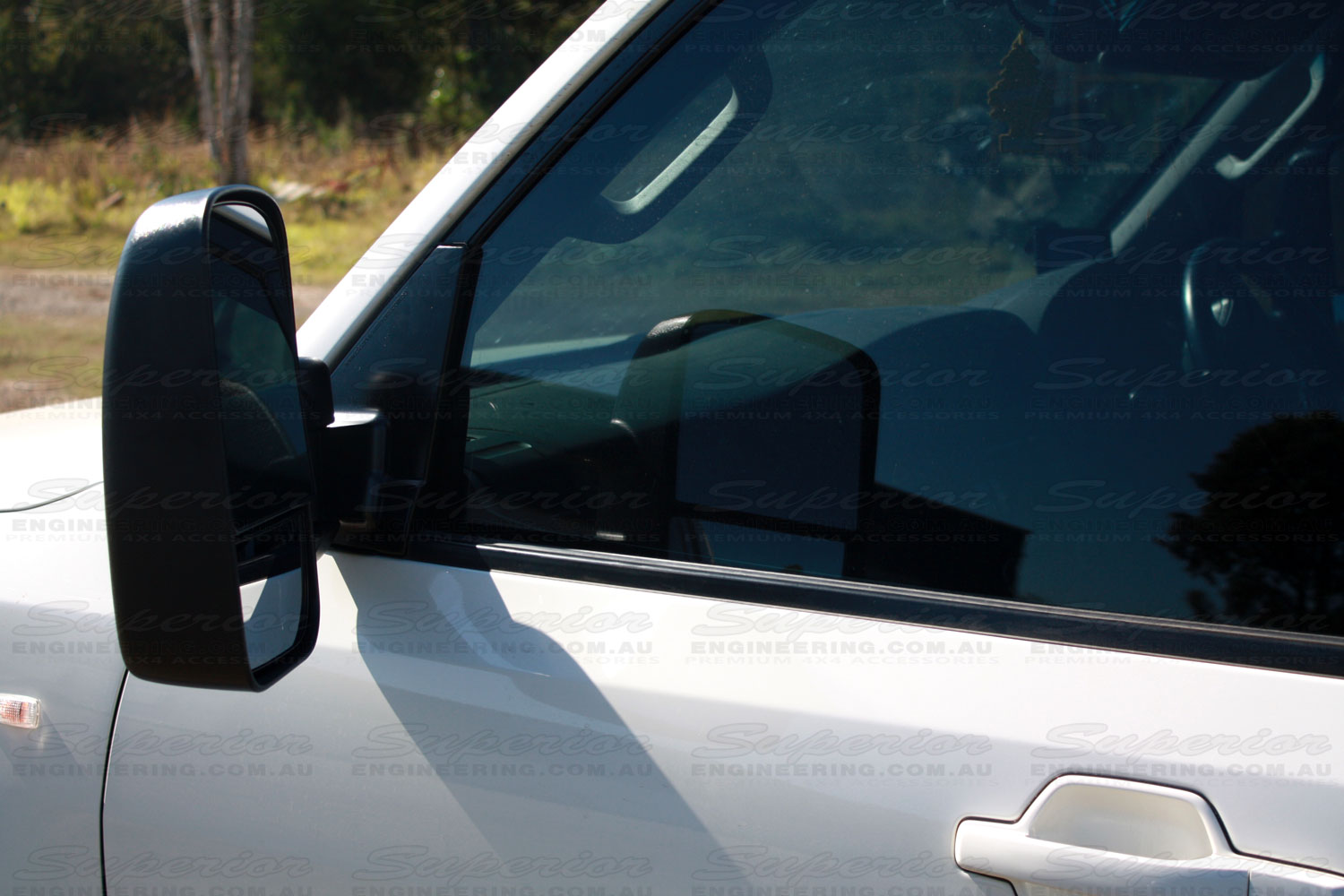 Closeup view of mirror side of a Clearview Towing Mirror fitted to a late model Pajero