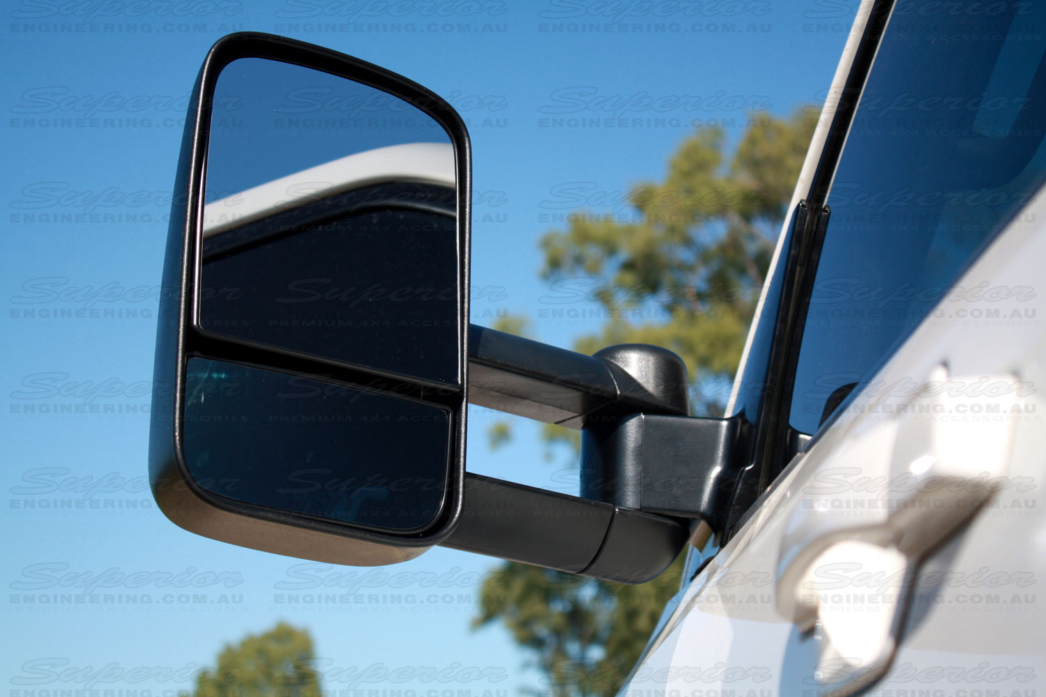 Right top view of mirror side of a Clearview Towing Mirror fitted to a late model Pajero
