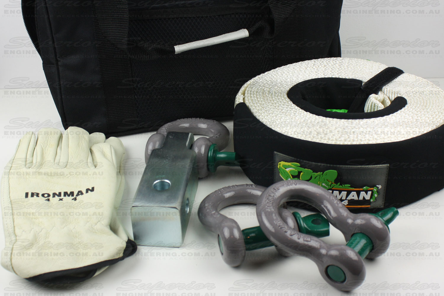The complete Ironman 4x4 small recovery kit featuring a snatch strap, shackles and gloves