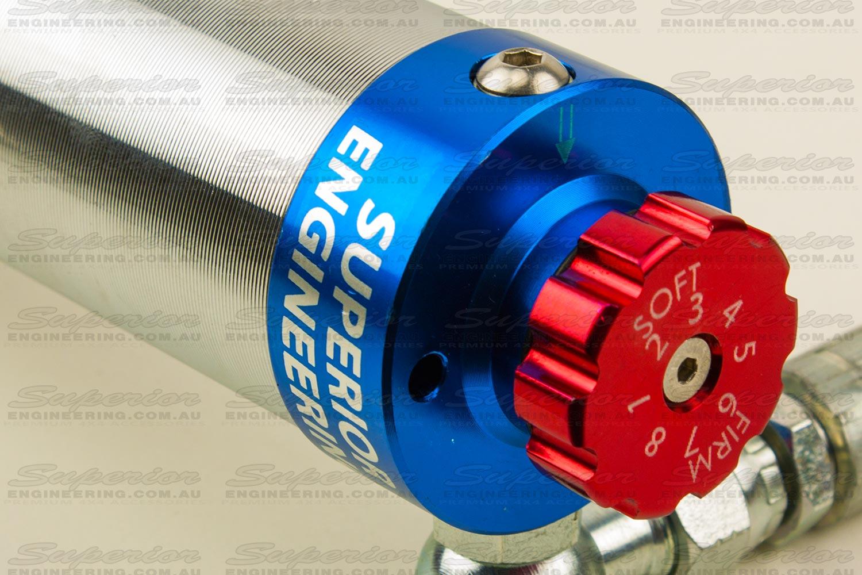 Remote Reservoir Shock with a red Unique Adjuster