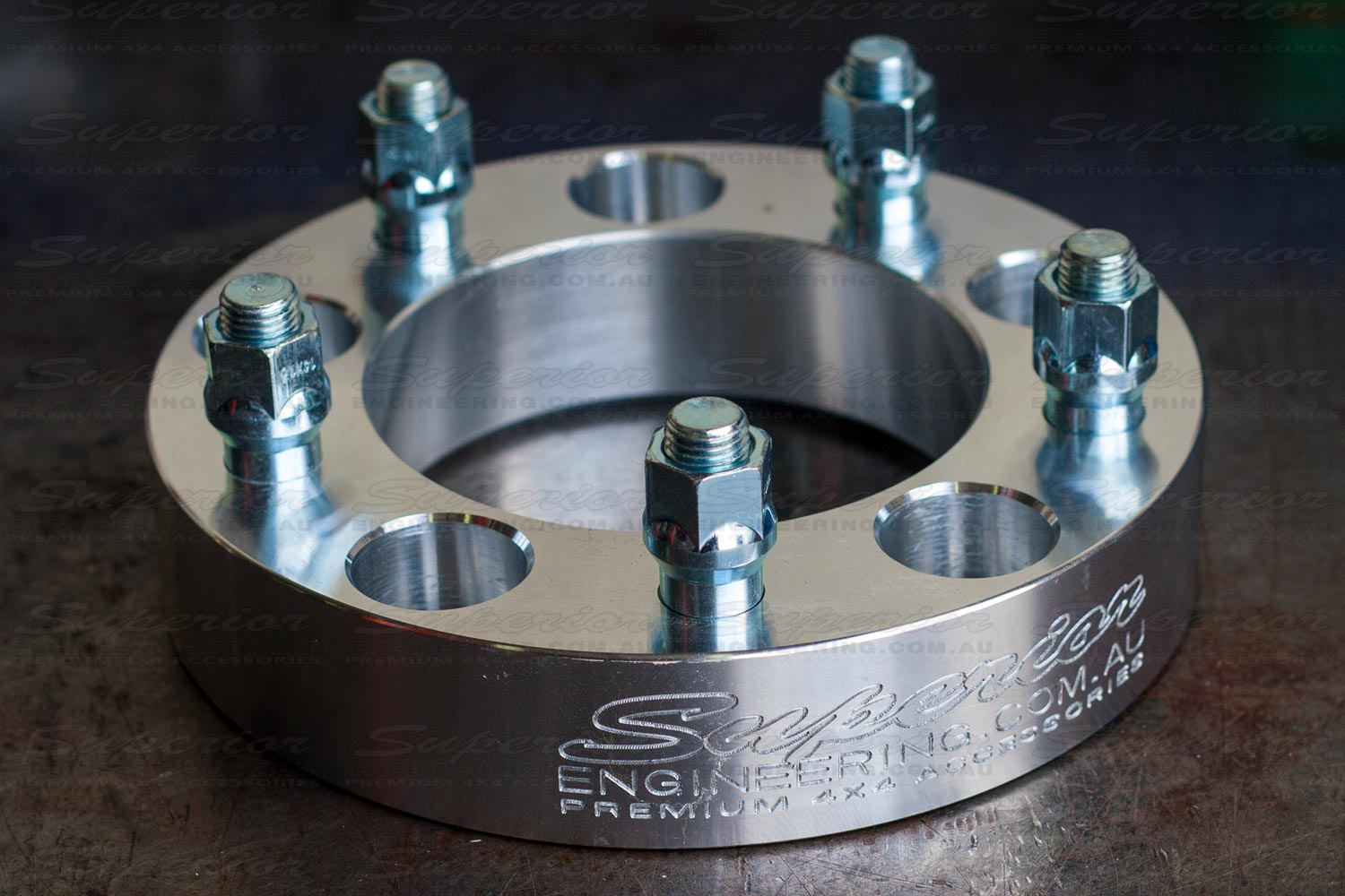 Closeup of a 5 stud Superior 2 inch wheel spacer
