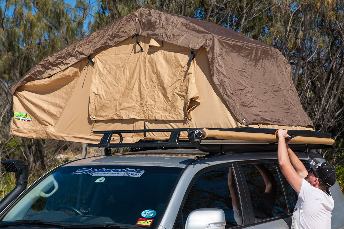 Front view of the Ironman 4x4 rooftop tent complete setup on the 200 Series