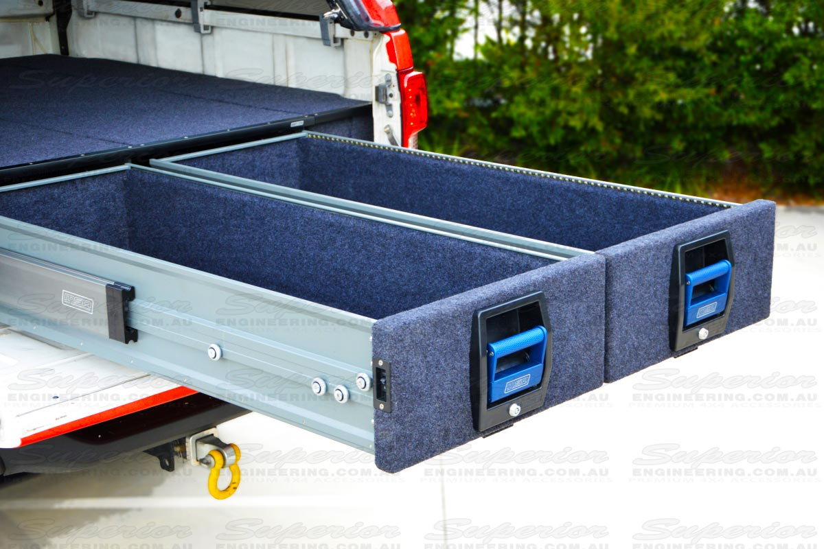 Closeup side view of the double drawers fully extended and open with generous amounts of storage room and highlighting the heavy duty build quality