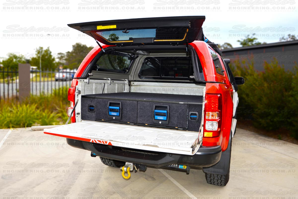 Rear view of a current model Holden Colorado with a pari of MSA 4x4 Drawer Systems fully installed, locked and secure