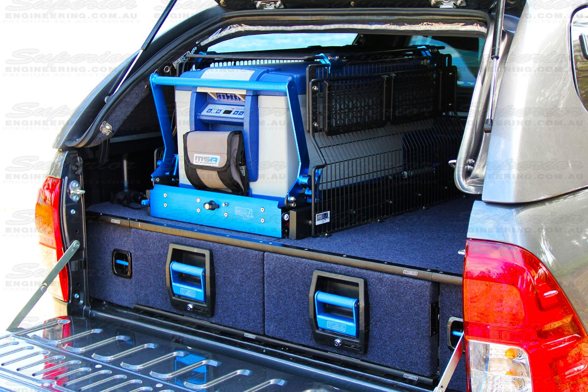 Fully locked and secure dual drawer system fitted to a Toyota Hilux