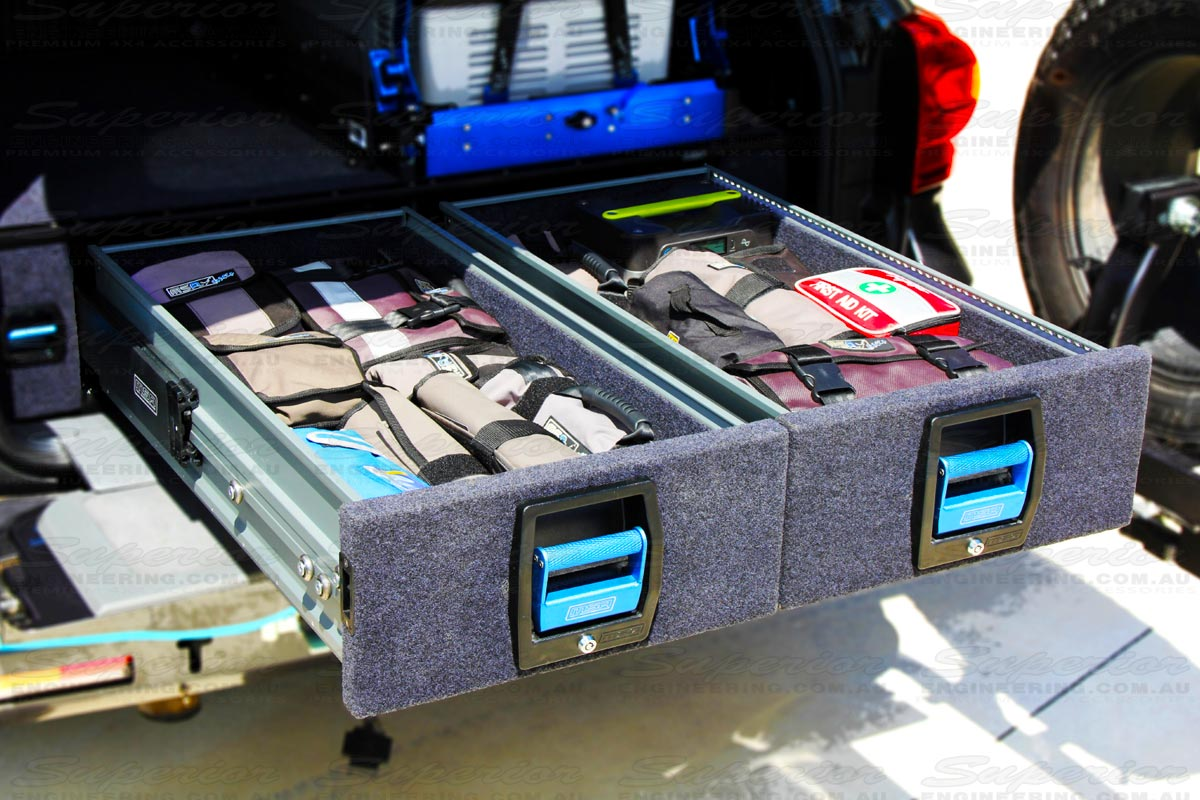Closeup view of the Heavy Duty dual drawers fully stacked with equipment designed to suit the Toyota Landcruiser 200 Series