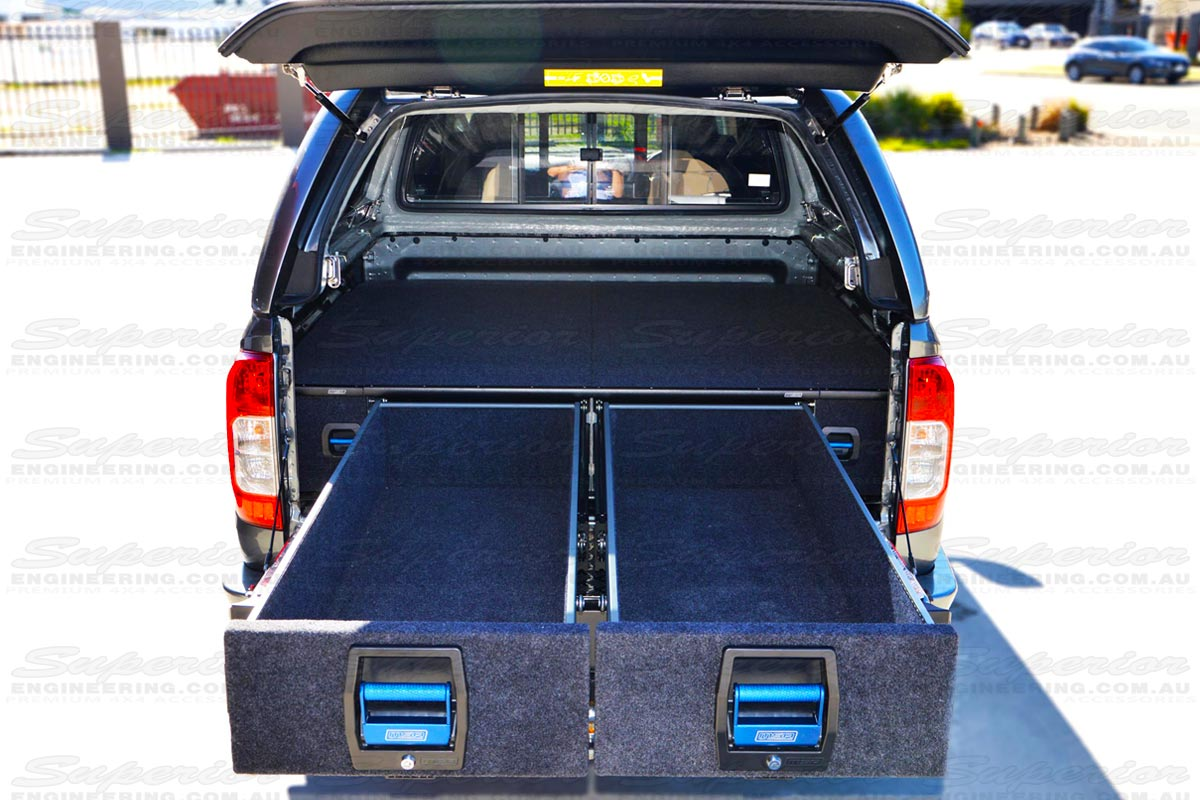 Rear end view of the MSA 4x4 dual drawers fully extended displaying the pro-glide system and safe and secure locking system suits Triton, BT50, Ranger and Navara