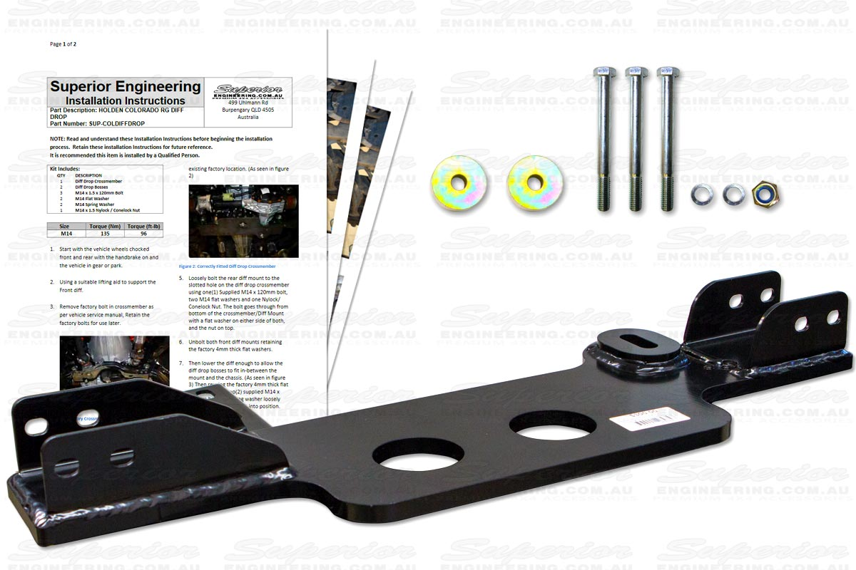 The Diff Drop bracket comes ready to fit with the bracket, hardware and easy to follow install instructions