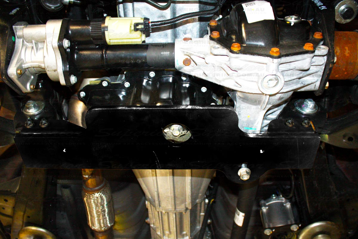 Underside view of the Superior 30mm Diff Drop Kit fitted to a Holden Colorado