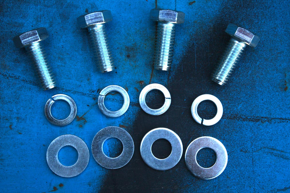 Closeup view of all the grade 8.8 high tensile nust, bults and washers which come with the kit for a 100% bolt-in installation