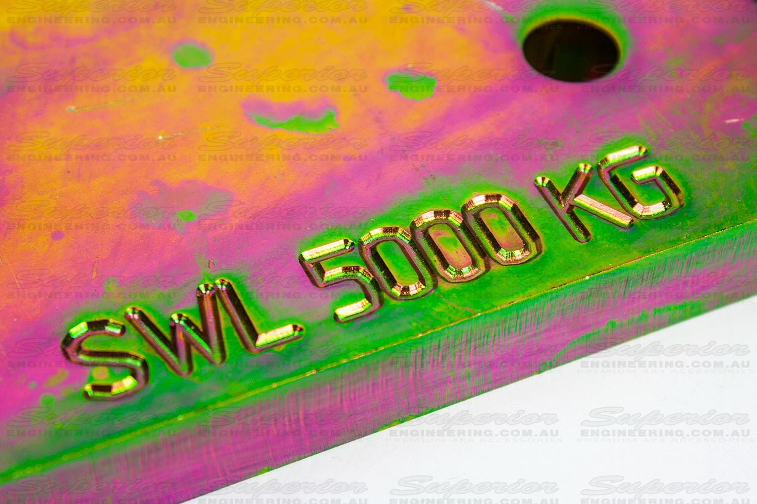 Closeup view of the 5000 kg safe working load text engraved onto the side of the Patrol rated towing point
