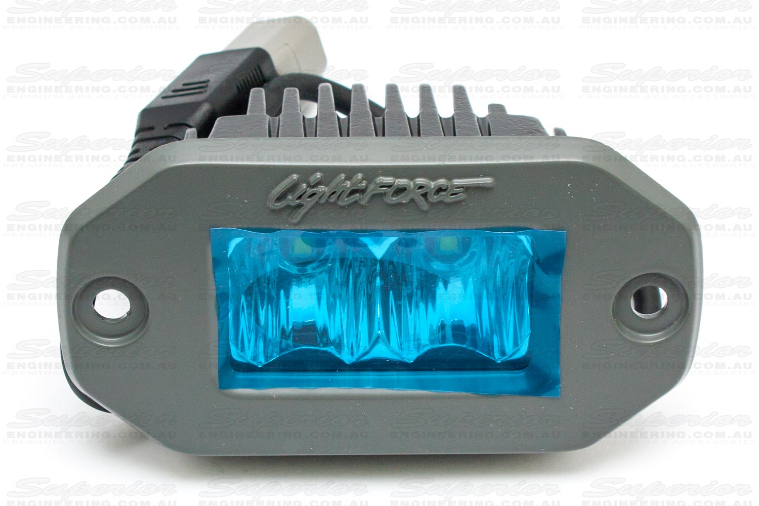 Front closeup view of the Lightforce ROK20 LED light on a plain white background